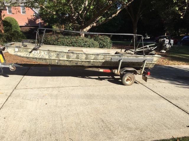 1448 Jon Boat / Duck Boat with 9hp Go Devil Longtail - Go