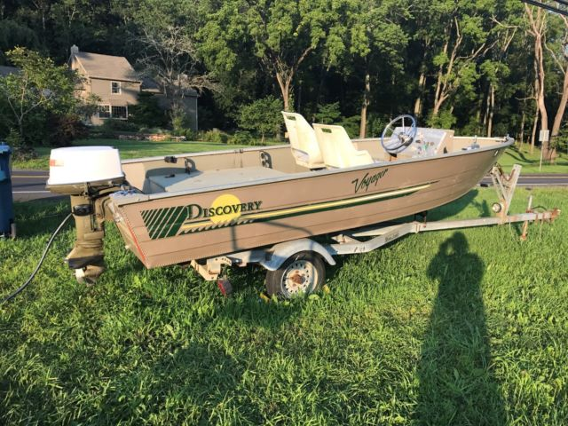 93 discovery voyager 16 ft aluminum side console boat w for 16 foot aluminum boat motor size