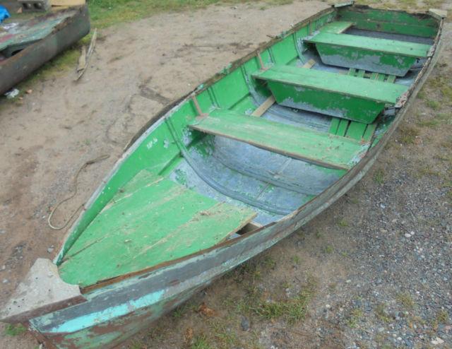 Vintage 1930s Starcraft Boat Galvanized Metal Wood Seats Gunrails