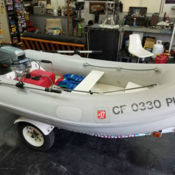 Saturn inflatable 16ft boat, dock and 15hp motor - for sale